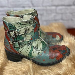 Goby vegan leather  Blue & Green Floral Boot